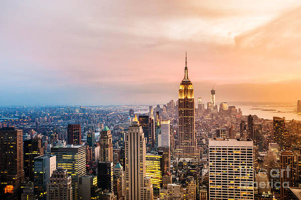 Midtown Photograph - New York City Skyline With Urban by Cocozero