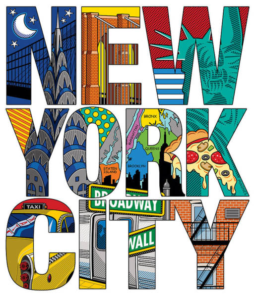 Wall Art - Digital Art - New York City Type by Ron Magnes