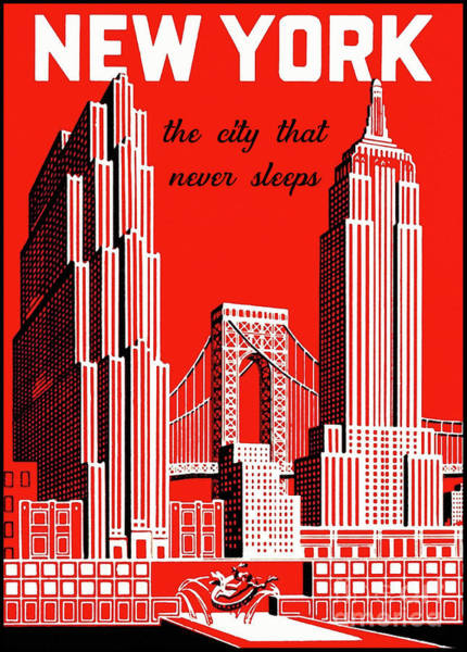 Wall Art - Painting - New York City Vintage Skyline Travel Poster by Tina Lavoie