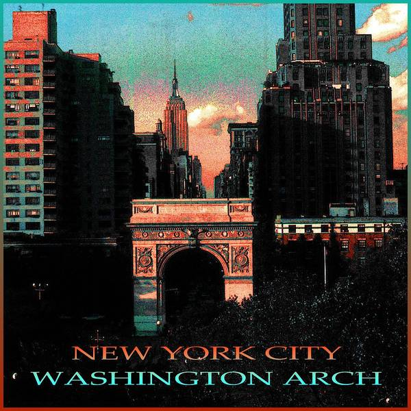 Painting - New York City Washington Arch Poster - Color Illustration by Peter Potter