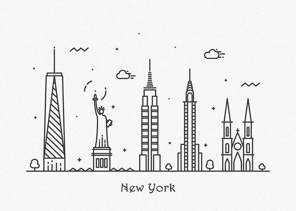 Wall Art - Drawing - New York Cityscape Travel Poster by Inspirowl Design