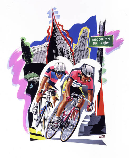 Wall Art - Painting - New York Cyclists by Garth Glazier