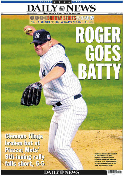 New York Mets Photograph - New York Daily News Front Page, Roger by New York Daily News Archive