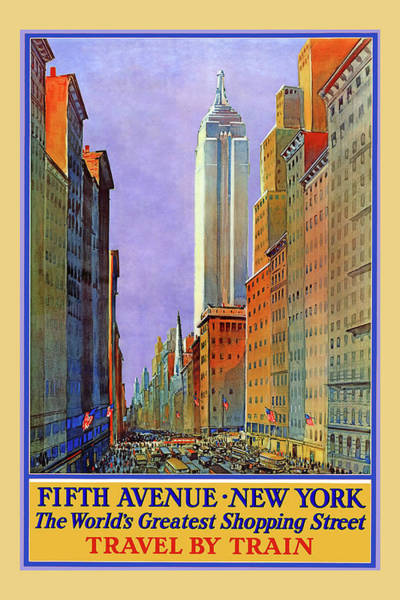 Digital Art - New York Fifth Avenue Travel Poster by Denise Beverly