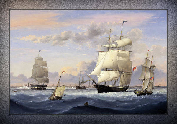 Painting - New York Harbor By Fitz Henry Lane by Xzendor7
