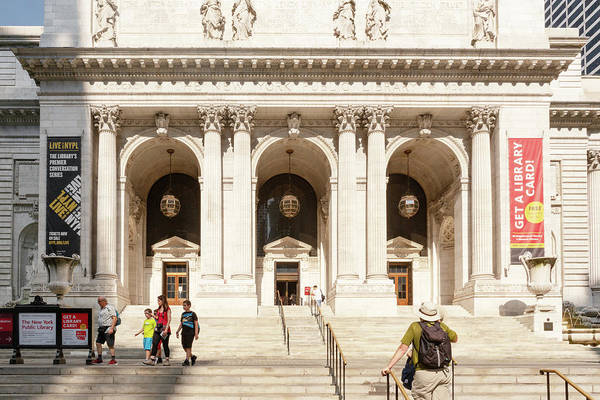 Photograph - New York Library Steps by Sharon Popek