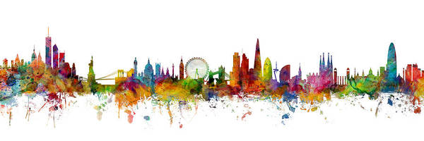 Wall Art - Digital Art - New York, London And Barcelona Skylines Mashup by Michael Tompsett