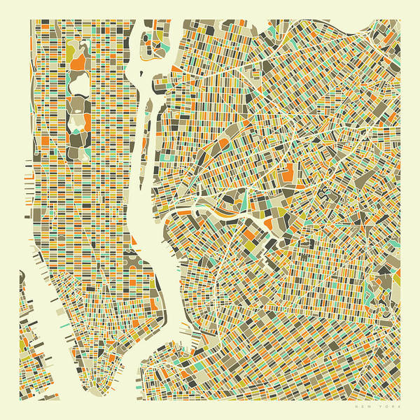 Streets Digital Art - New York Map 1 by Jazzberry Blue