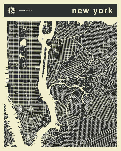 York Digital Art - New York Map 3 by Jazzberry Blue