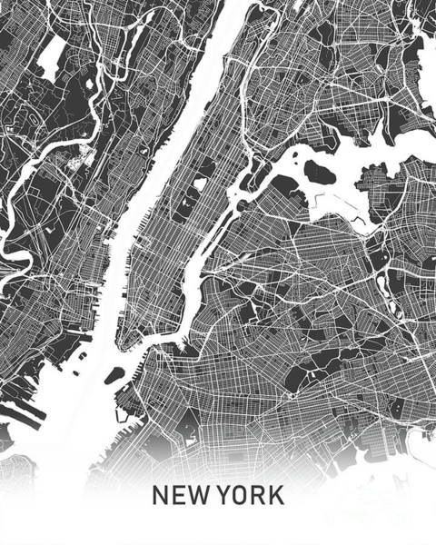 Wall Art - Photograph - New York Map Black And White by Delphimages Photo Creations