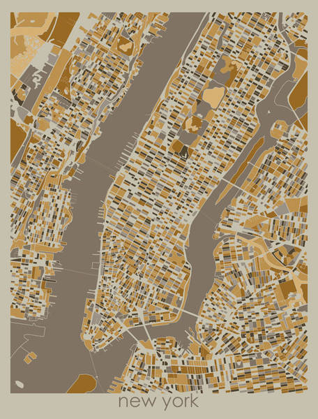 Wall Art - Digital Art - New York Map Retro 4 by Bekim M