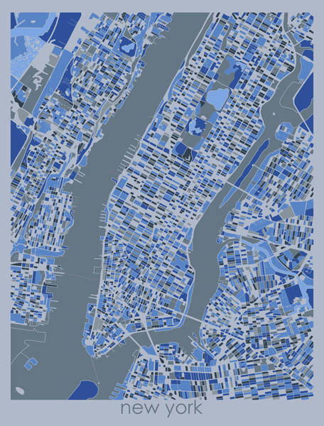 Wall Art - Digital Art - New York Map Retro 5 by Bekim M