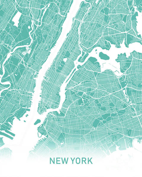 New York Map Digital Art - New York Map Teal by Delphimages Photo Creations