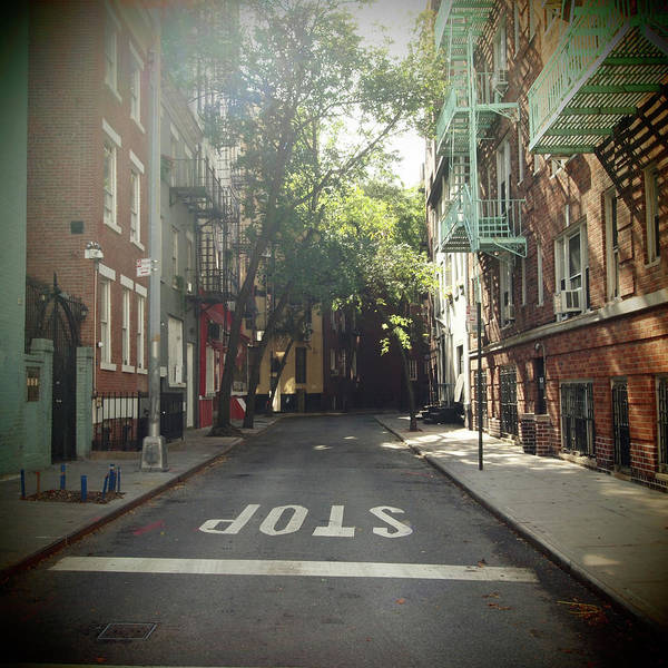 Text Photograph - New York On Idealic Street by Lori Andrews