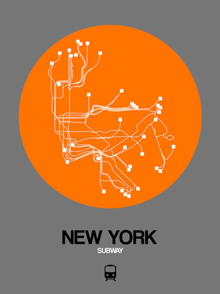 Subway Map Wall Art - Digital Art - New York Orange Subway Map by Naxart Studio