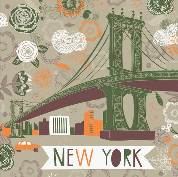Wall Art - Digital Art - New York Print Design by Lavandaart