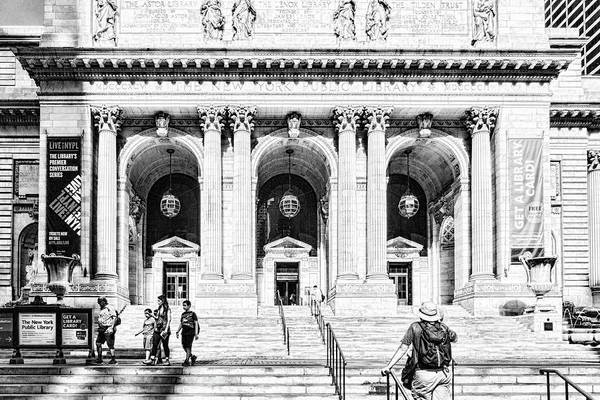 Photograph - New York Public Library Black And White by Sharon Popek