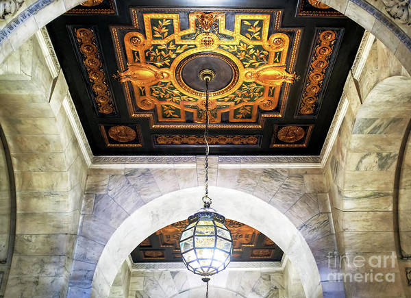 Photograph - New York Public Library Interior Chandelier In Manhattan by John Rizzuto