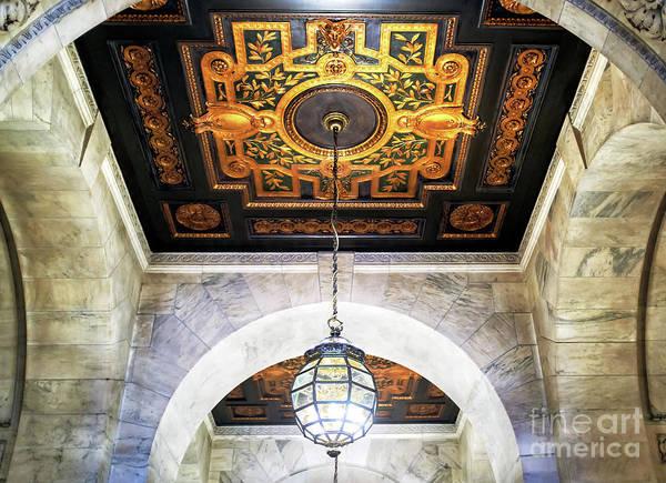 Wall Art - Photograph - New York Public Library Interior Chandelier In Manhattan by John Rizzuto