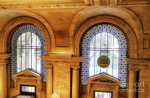 Photograph - New York Public Library Window View In Manhattan by John Rizzuto