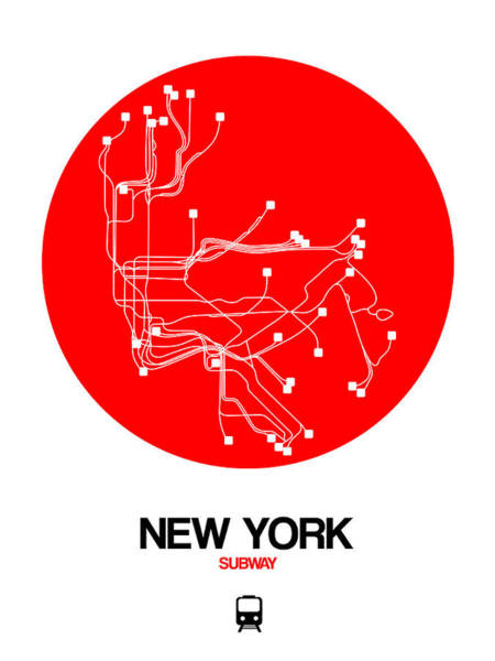 Wall Art - Digital Art - New York Red Subway Map by Naxart Studio