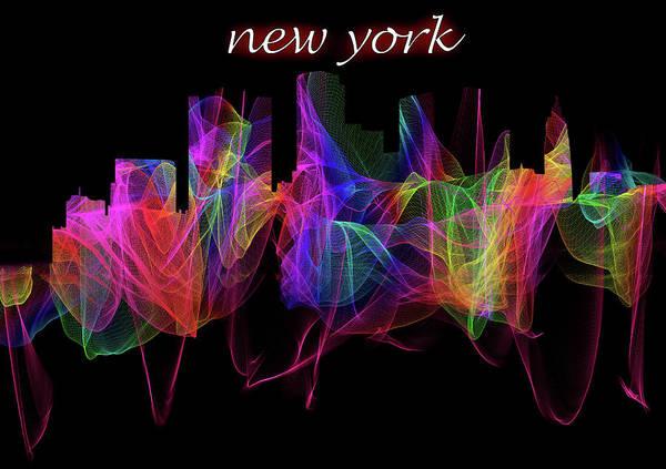 Digital Art - New York Skyline Art With Script by Debra and Dave Vanderlaan