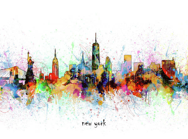 Wall Art - Digital Art - New York Skyline Artistic by Bekim M