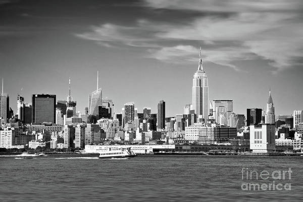 Wall Art - Photograph - New York Skyline Black And White by Delphimages Photo Creations