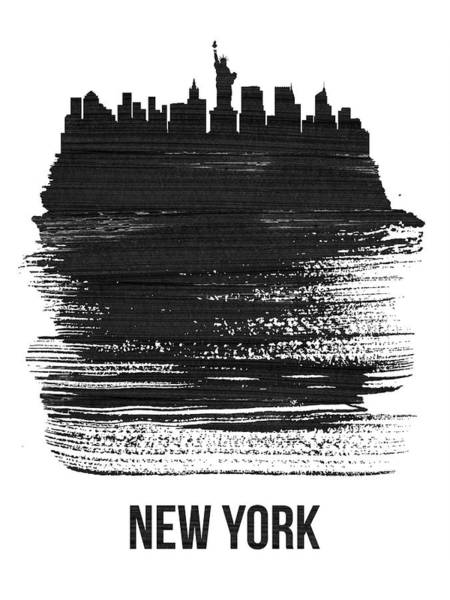 News Mixed Media - New York Skyline Brush Stroke Black by Naxart Studio