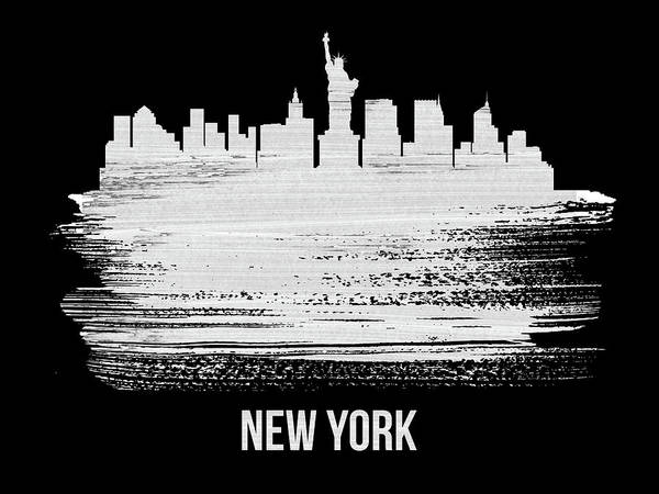 Wall Art - Photograph - New York Skyline Brush Stroke White by Naxart Studio