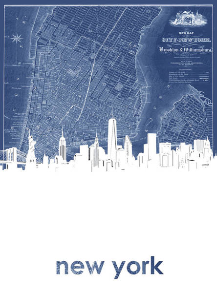 Wall Art - Digital Art - New York Skyline Map Blue by Bekim M