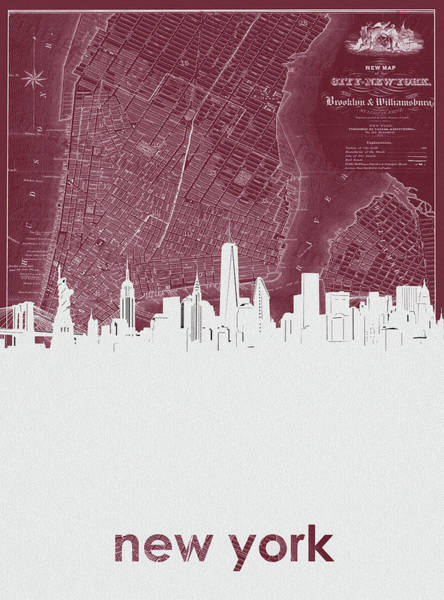 Wall Art - Digital Art - New York Skyline Map Red by Bekim M