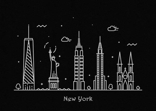 Wall Art - Drawing - New York Skyline Travel Poster by Inspirowl Design