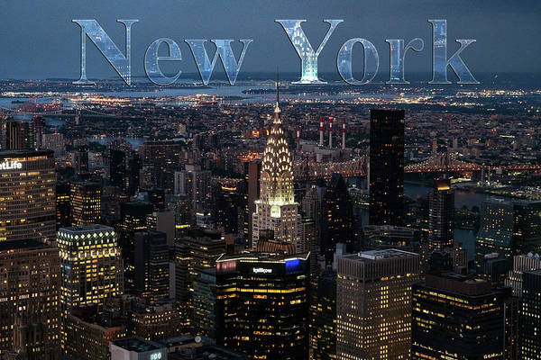 Photograph - New York Skyline With Type by Sharon Popek