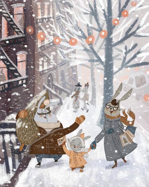 Trimming Painting - New York - Snow by Ema Malyauka