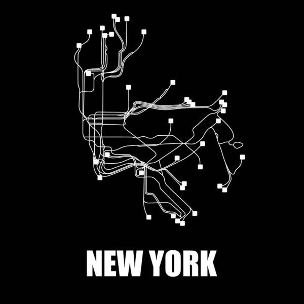 Wall Art - Digital Art - New York Square Subway Map  by Naxart Studio
