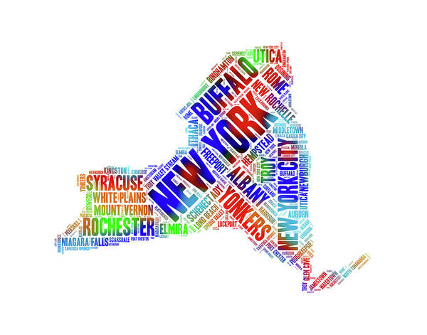 Digital Art - New York State Colorful Cities Word Art by Peggy Collins