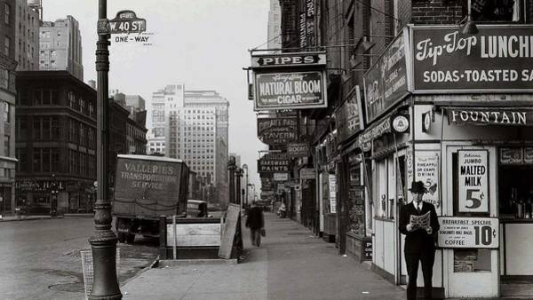 Manhattan Skyline Painting - New York Streets 1920s by Celestial Images