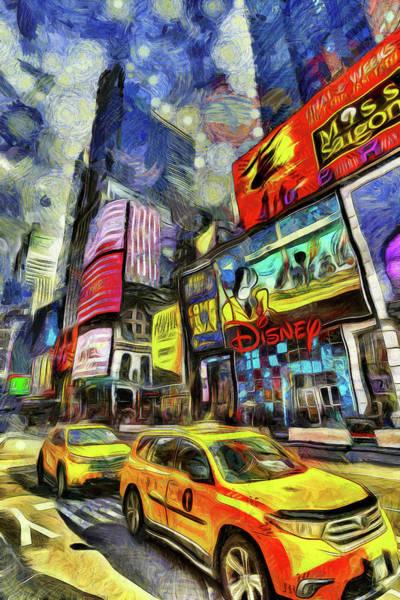 Wall Art - Photograph - New York Taxis Times Square Art by David Pyatt