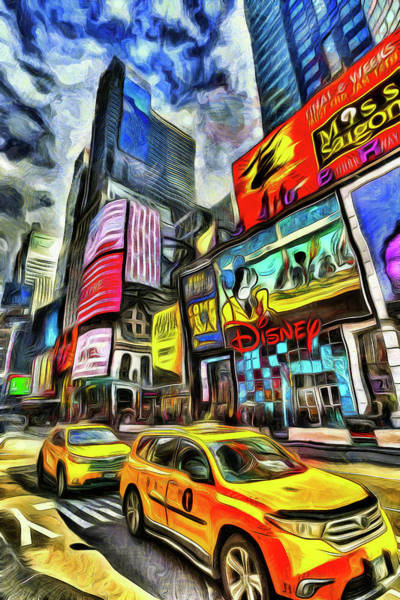 Wall Art - Photograph - New York Taxis Van Gogh by David Pyatt
