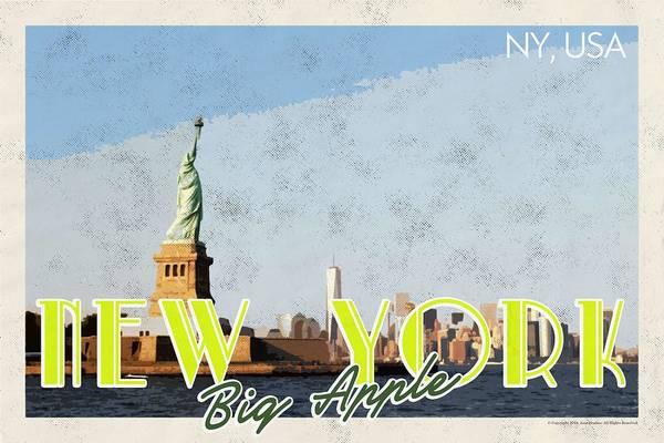 Manhattan Skyline Painting - New York Usa Travel Poster V6c by Celestial Images