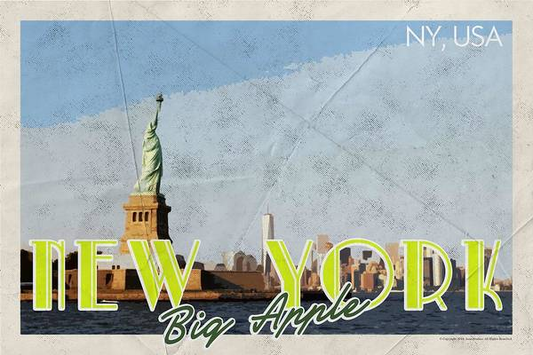 Manhattan Skyline Painting - New York Usa Travel Poster V6d by Celestial Images