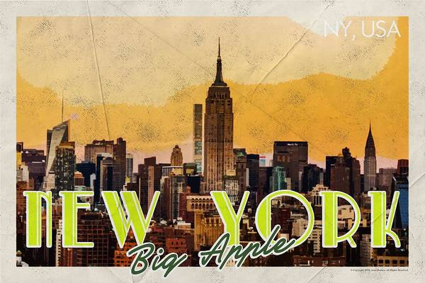Manhattan Skyline Painting - New York Usa Travel Poster V7a by Celestial Images
