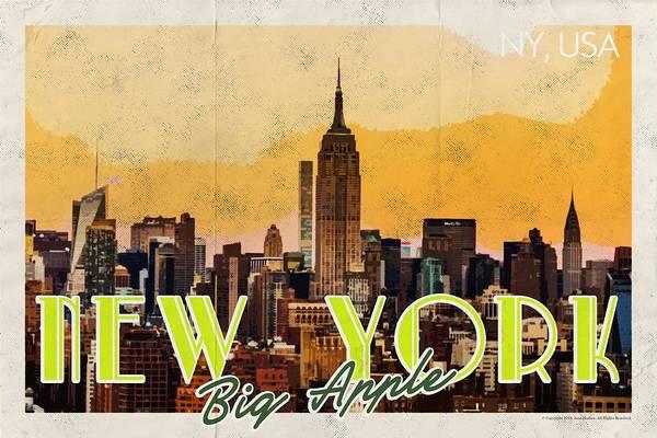 Manhattan Skyline Painting - New York Usa Travel Poster V7b by Celestial Images