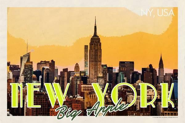 Manhattan Skyline Painting - New York Usa Travel Poster V7d by Celestial Images
