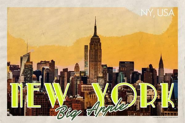 Manhattan Skyline Painting - New York Usa Travel Poster V7e by Celestial Images