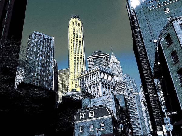 Drawing - New York Wall Street Skyline 2017 by Peter Potter