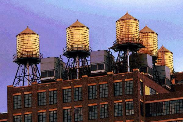 Drawing - New York Water Towers - Color Illustration by Peter Potter