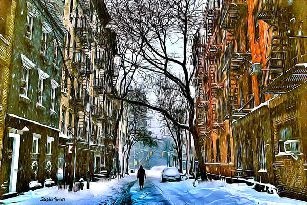 Wall Art - Digital Art - New York West Village Snow by Stephen Younts
