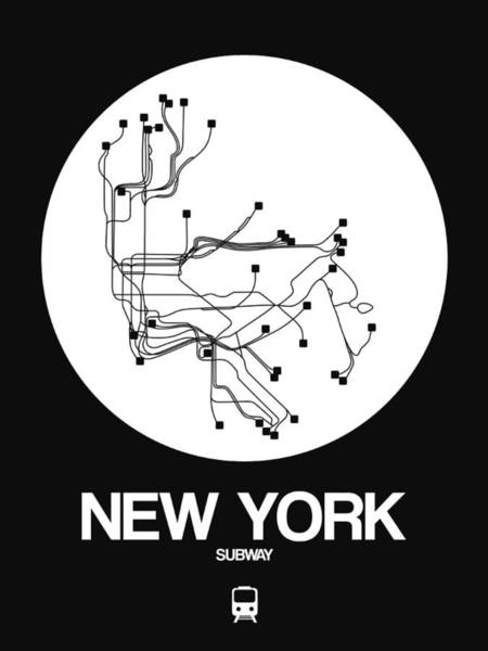 Subway Map Wall Art - Digital Art - New York White Subway Map by Naxart Studio